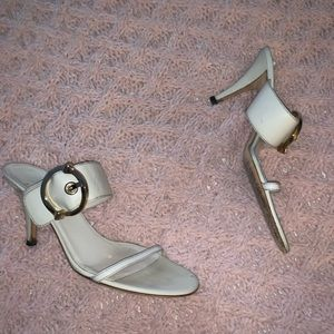 Auth Gucci cream double strap backless Heels